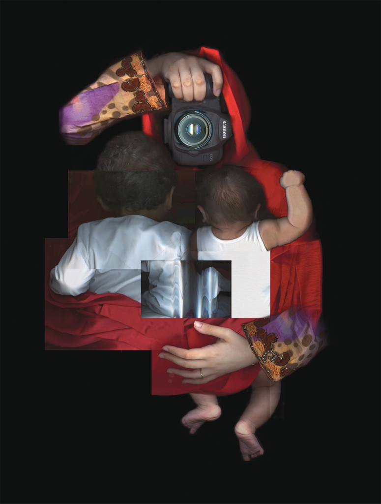 "Mother, by Emirati artist Maitha Demithan, was created by the process of scanography, using digital scanners to generate images and then collaging the images together. In the exhibit catalog the artist states that the piece depicts a mother as a hero, in her hands the tools of an artist ""without which she cannot feel complete. In both are the feedback cycle of creating and nurturing, immersion and engagement."""