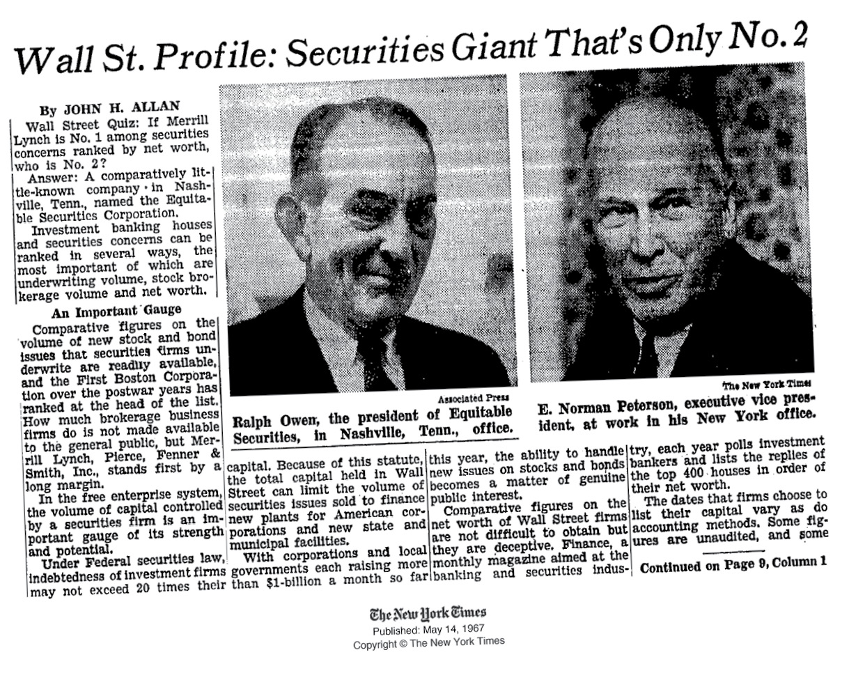 image of New York Times article about Equitable Securities