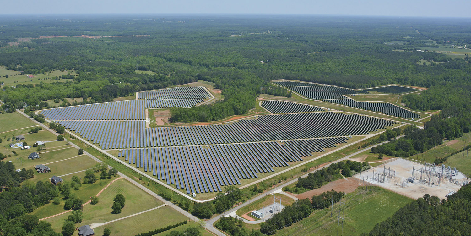An aerial view of Silicon Ranch's solar farm in Social Circle, Georgia. The 130,000-panel installaton was the largest solar farm east of the Mississippi River when completed in 2013. (COURTESY OF SILICON RANCH CORP.)