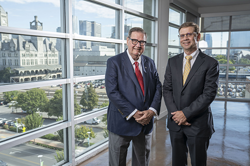 photo of Steve and Jay Turner with Nashville's Union Station in the background