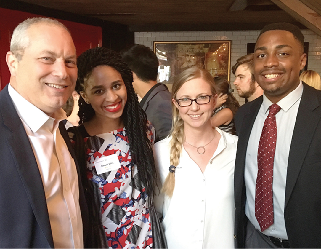 Left to right: Dan Lovinger, Imani Ellis, Kate Morgan and Vanderbilt junior Niles Ellis network at the Summer Open Dores reception in New York City in June. Imani Ellis is communications manager for Bravo & Oxygen Media of NBCUniversal, and Lovinger is executive vice president for sales at NBCUniversal Entertainment Group. Morgan is a management consultant for Accenture.