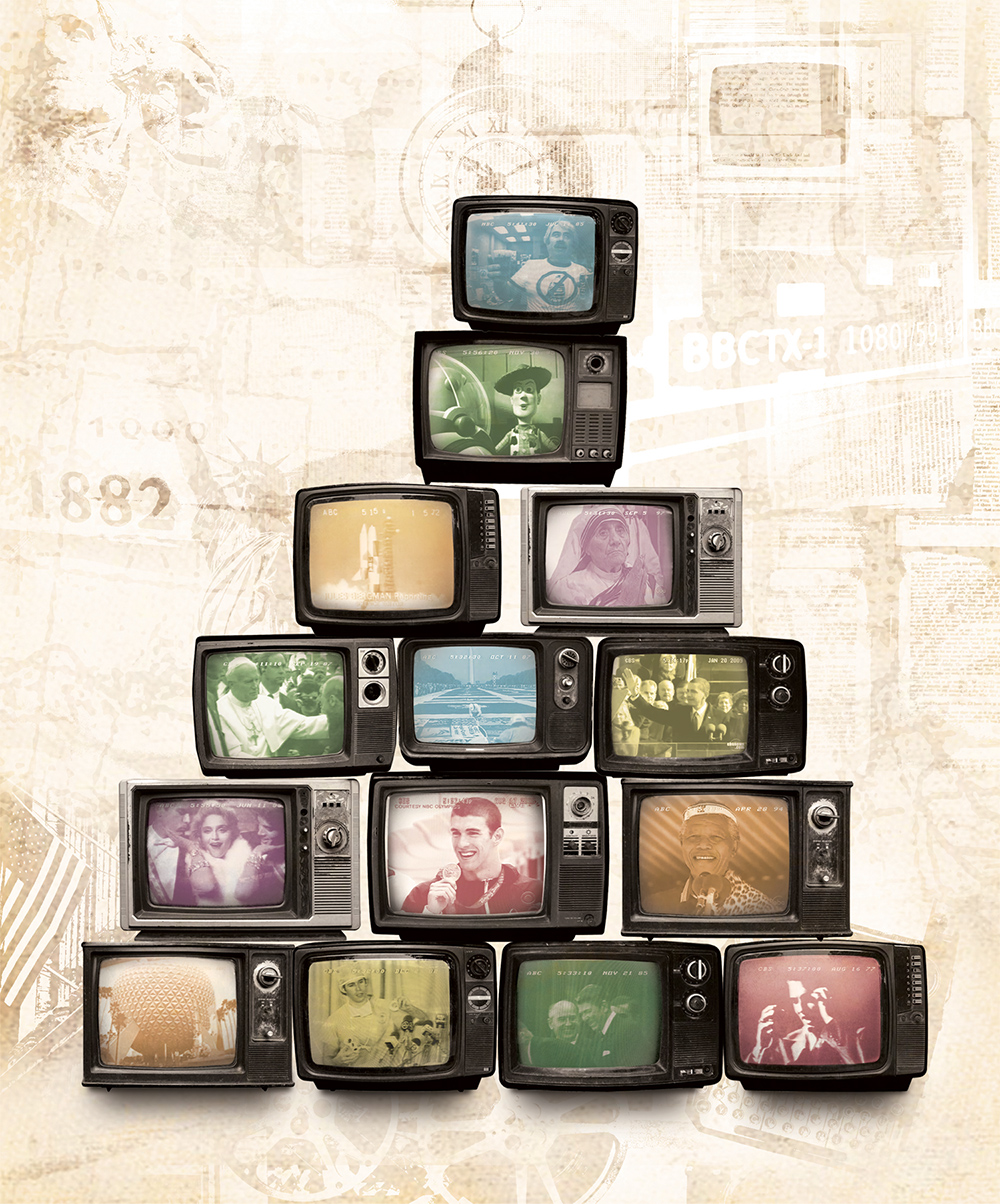 photo illustration of TVs stacked on top of one another