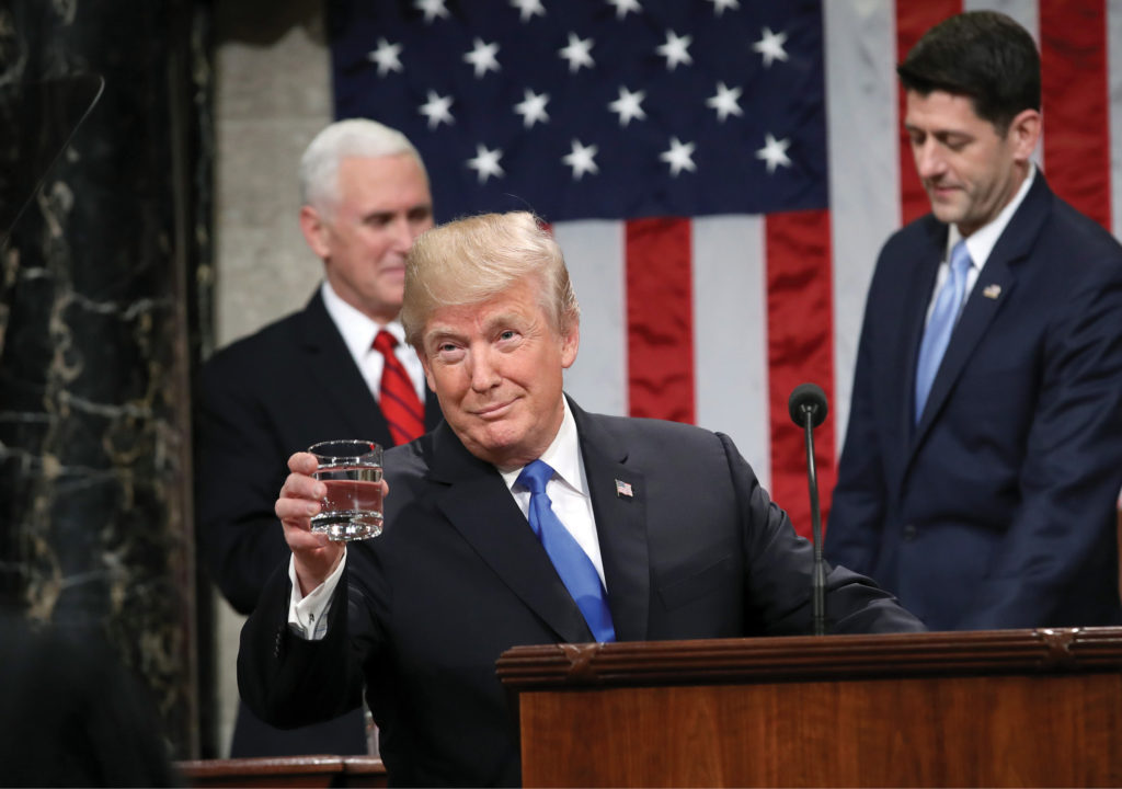 President Trump addresses the nation and a joint session of Congress in his first State of the Union address Jan. 30, 2018. (WIN MCNAMEE / GETTY IMAGES)