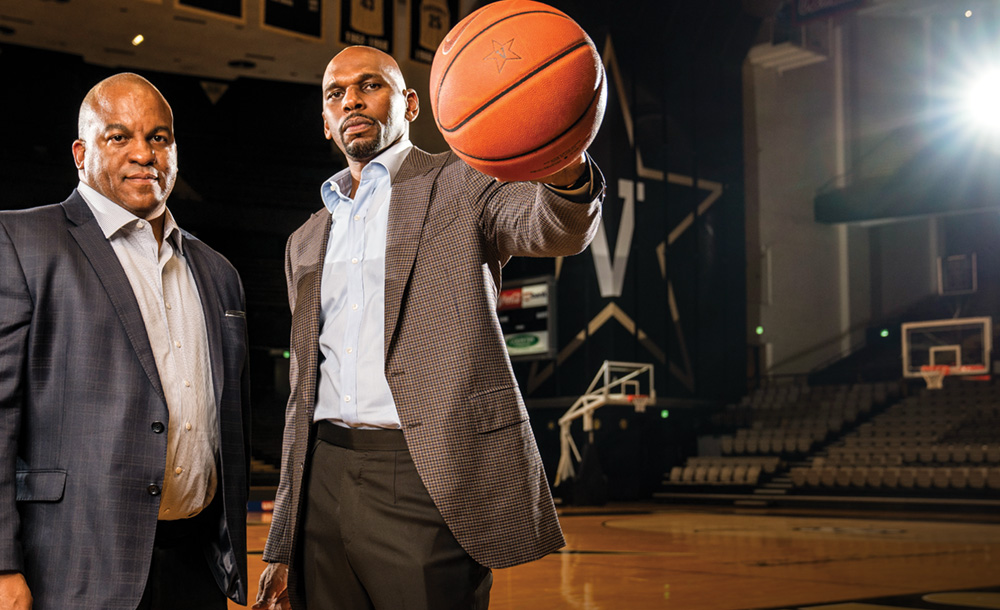 photo of Malcolm Turner and Jerry Stackhouse in Memorial Gym