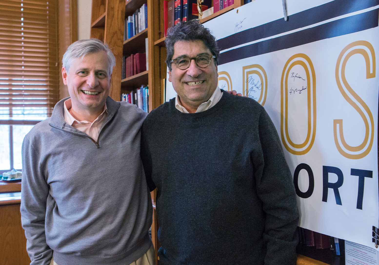 Jon Meacham, left, and Chancellor Nicholas S. Zeppos (ANNE RAYNER)