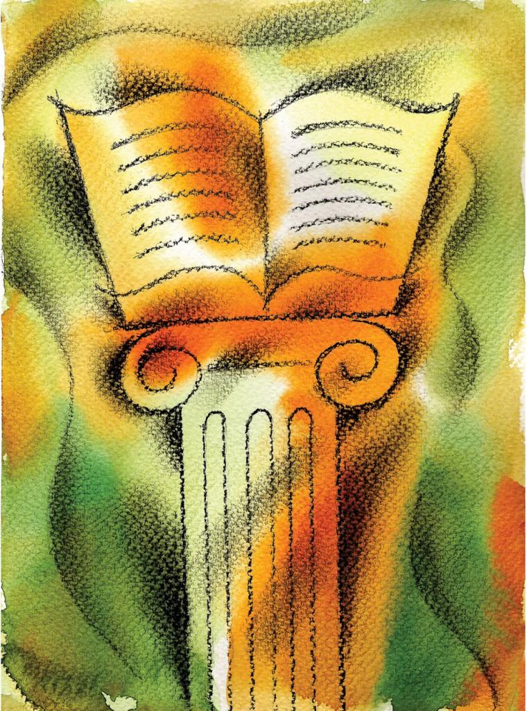Illustration of book atop a pedestal