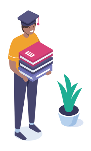 illustration of a student holding books in his arms