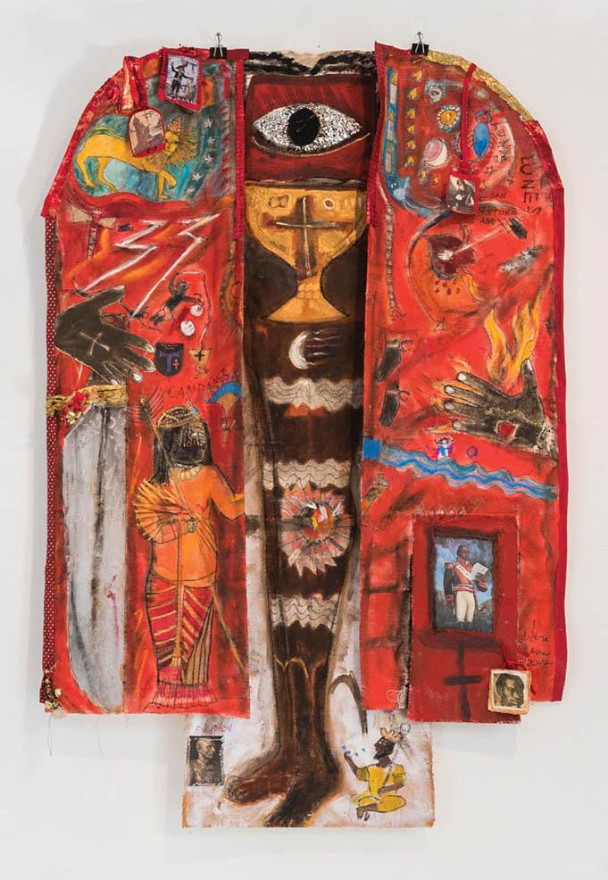 Clara Morera, The Preboste Juan (King Juan), 2017, mixed media on canvas, 72 x 48 inches (courtesy of the artist and Dorfsman Fine Arts, Miami)