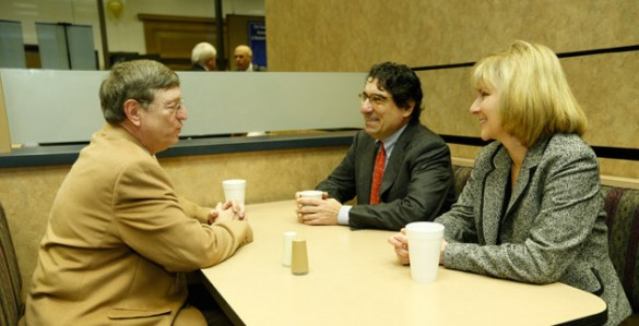 Rep. Harry Brooks, R-Knoxville, meets with Chancellor Nicholas S. Zeppos and Vice Chancellor for Public Affairs Beth Fortune at Vanderbilt's 12th annual Day on the Hill Jan. 30 (John Russell/Vanderbilt)