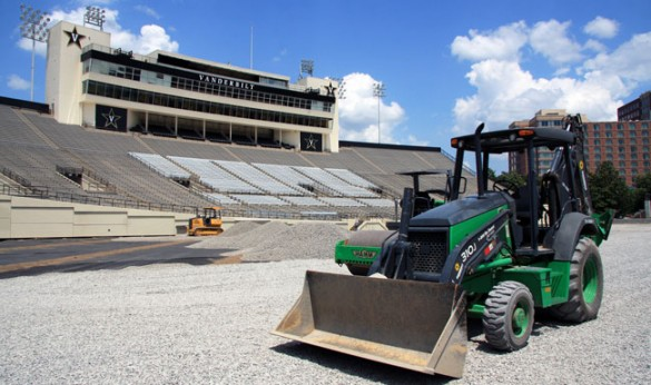 The installation of a new lighting system at Vanderbilt Stadium will close part of Natchez Trace July 23-27. (Brandon Barca/Vanderbilt)