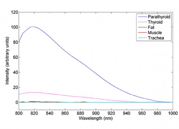 Graph of relative strength of infrared fluorescence